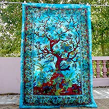 Blue Tree of Life Indian Hippy Tapestries,bed sheets ,bed spread,hippy bed sheets,wall hangings,ethnic decor,home decor bed sheets,throw,picknic blankets,dorm tapestries By Montreal Tappesier