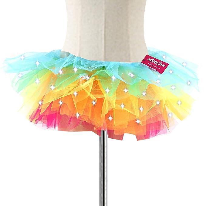 44ee3f6f1b8b4 Amazon.com: Tutus for Women, MARYSUN Adult Led Tutu Neon Rainbow ...