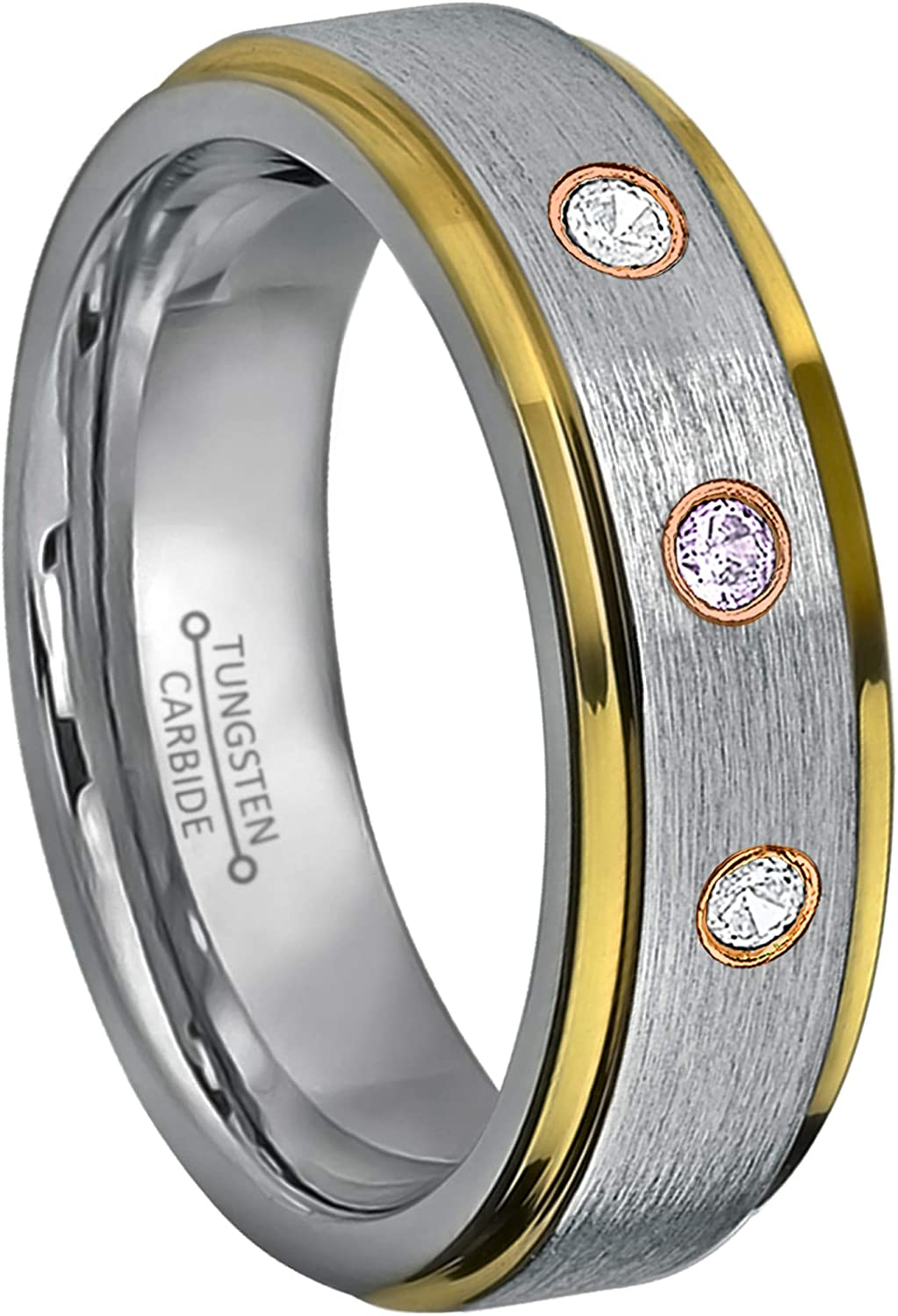 0.21ctw Amethyst /& Diamond 3-Stone Tungsten Ring Jewelry Avalanche 6MM Polished 2-Tone Yellow Gold Beveled Edge Tungsten Carbide Wedding Band