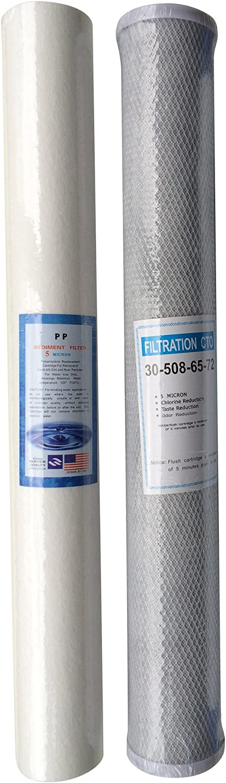 a carbonio Set di filtri acqua per osmosi inversa per pulizia finestre 50 cm di altezza per sedimentazione
