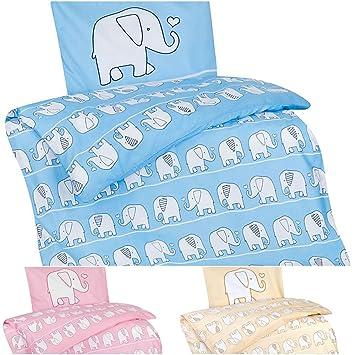 Schön Aminata Kids U2013 Bettwäsche 100x135 Cm Kinder Mädchen Elefanten Baumwolle  + Reißverschluss Rosa Pink Zootiere Elefant