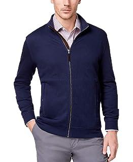 Tasso Elba Mens Coat Zip Front Hooded Rain Jacket Navy, M