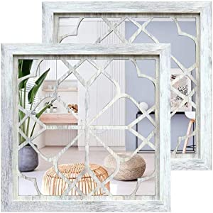 """Wocred 2 PCS Square Wall Mirror,Gorgeous Rustic Farmhouse Accent Mirror,Rustic White Color Entry Mirror for Bathroom Renovation,Bedrooms,Living Rooms and More(12""""x12"""")"""