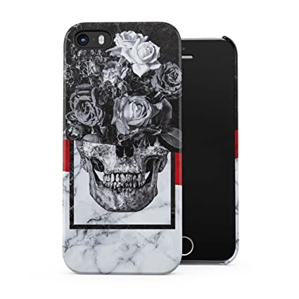 Amazon.com: piedra rosas cráneo humano Floral Blanco y Negro ...