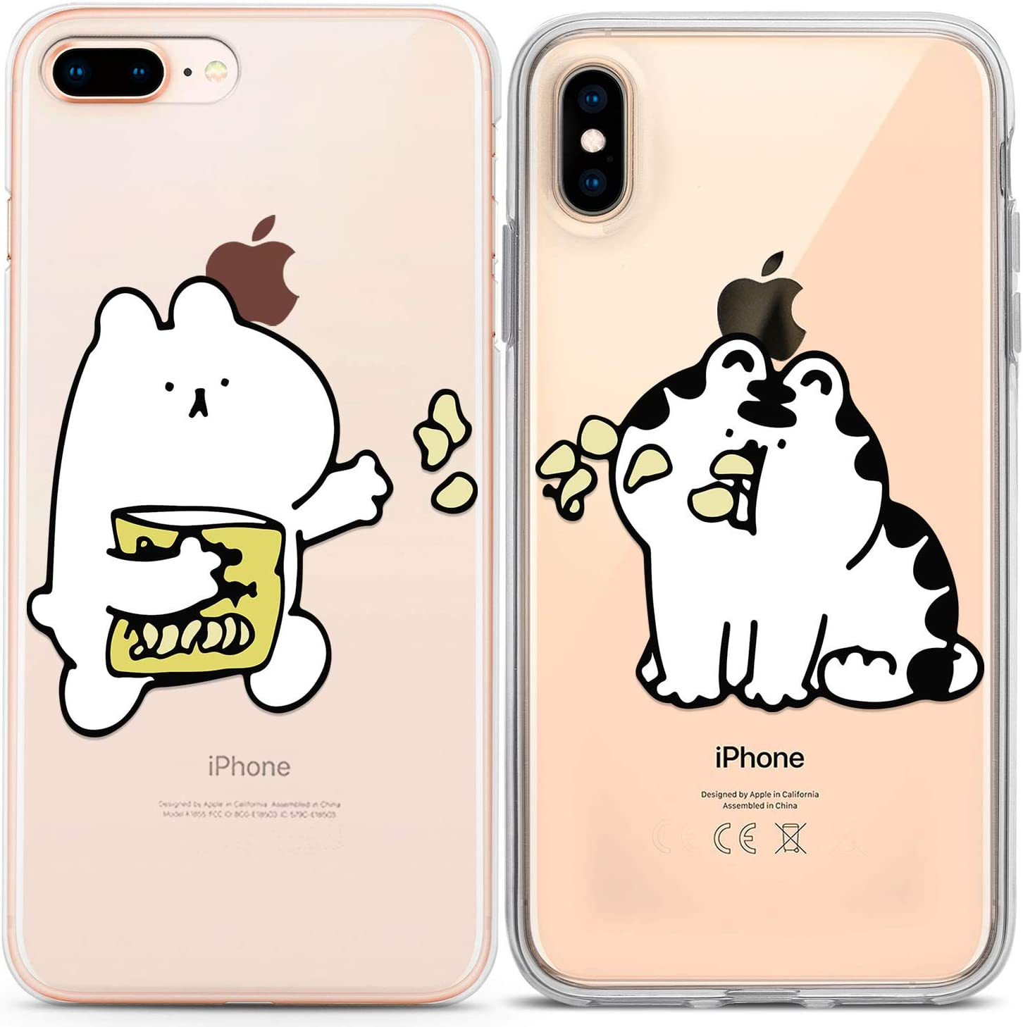 Lex Altern Couple Cases Compatible with iPhone 12 Pro Max 11 Mini SE Xr Xs 8 Plus 7 6 Food Anniversary Matching Adorable White Cat Best Friend Cute Kawaii TPU Boyfriend Chubby Flexible Lightweight