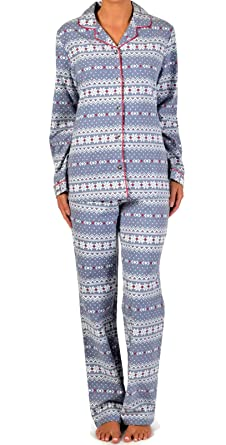 Claudel Women s Snowflake Collection Long Sleeved Pajama Set 100 ... 9e4d8d454