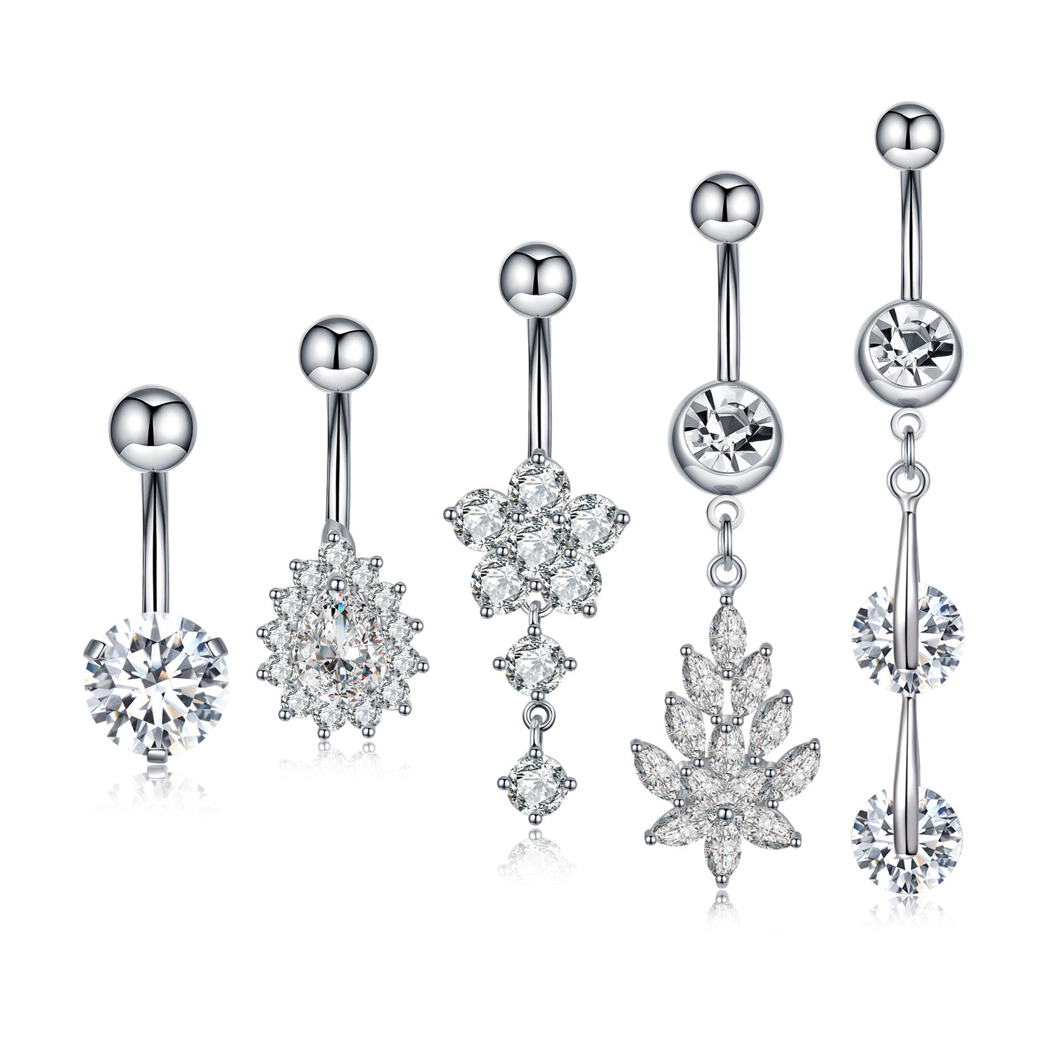 C&L 5PCS Crystal CZ Gem Surgical Steel Dangle Belly Button Rings Navel Body Jewelry for Women Curved Barbell Piercing