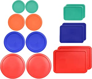 Klareware 1 Cup 2 Cup 3 cup 4 cup 6 cup 7 Cup 11 cup Round Plastic Food Storage Replacement Lids Covers for Klareware Anchor Hocking and Pyrex Glass Bowls (Container not Included) (Multi 14 Pack)
