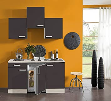 idealShopping Singelküche mit Elektrogeräten Faro in anthrazit 150 ...
