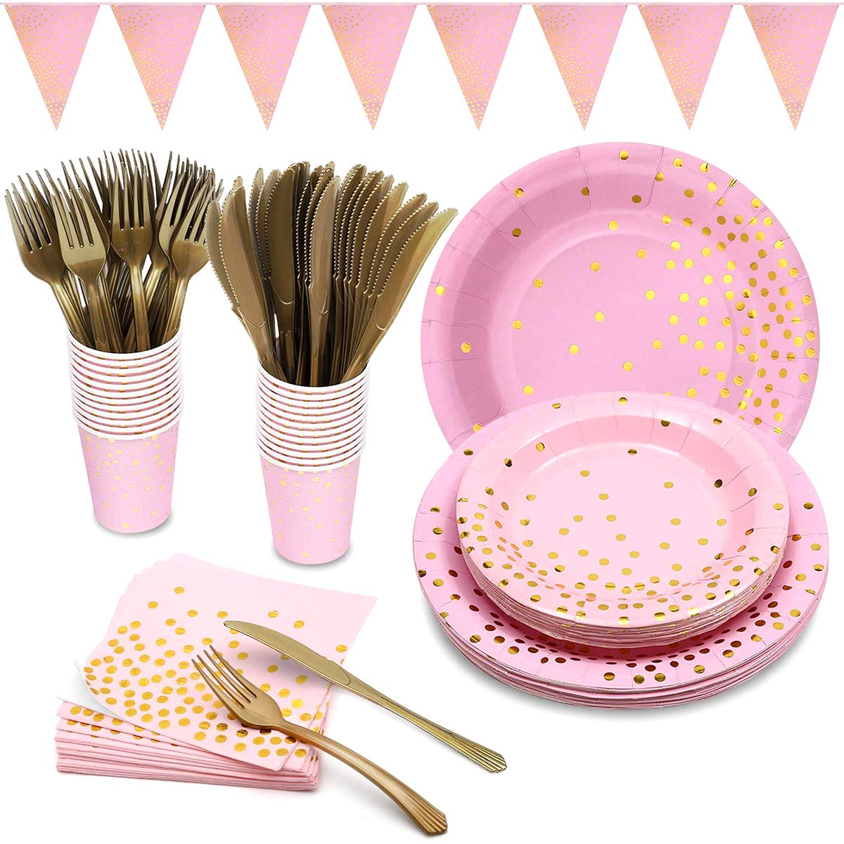 Yinuoday Pink and Gold Party Supplies for 24 Guest,Golden Dot Pink Themed Party Decoration Set Including Plates,Tissues,Knives,Forks,Cups,Banner for Girl Birthday Party,Baby Shower