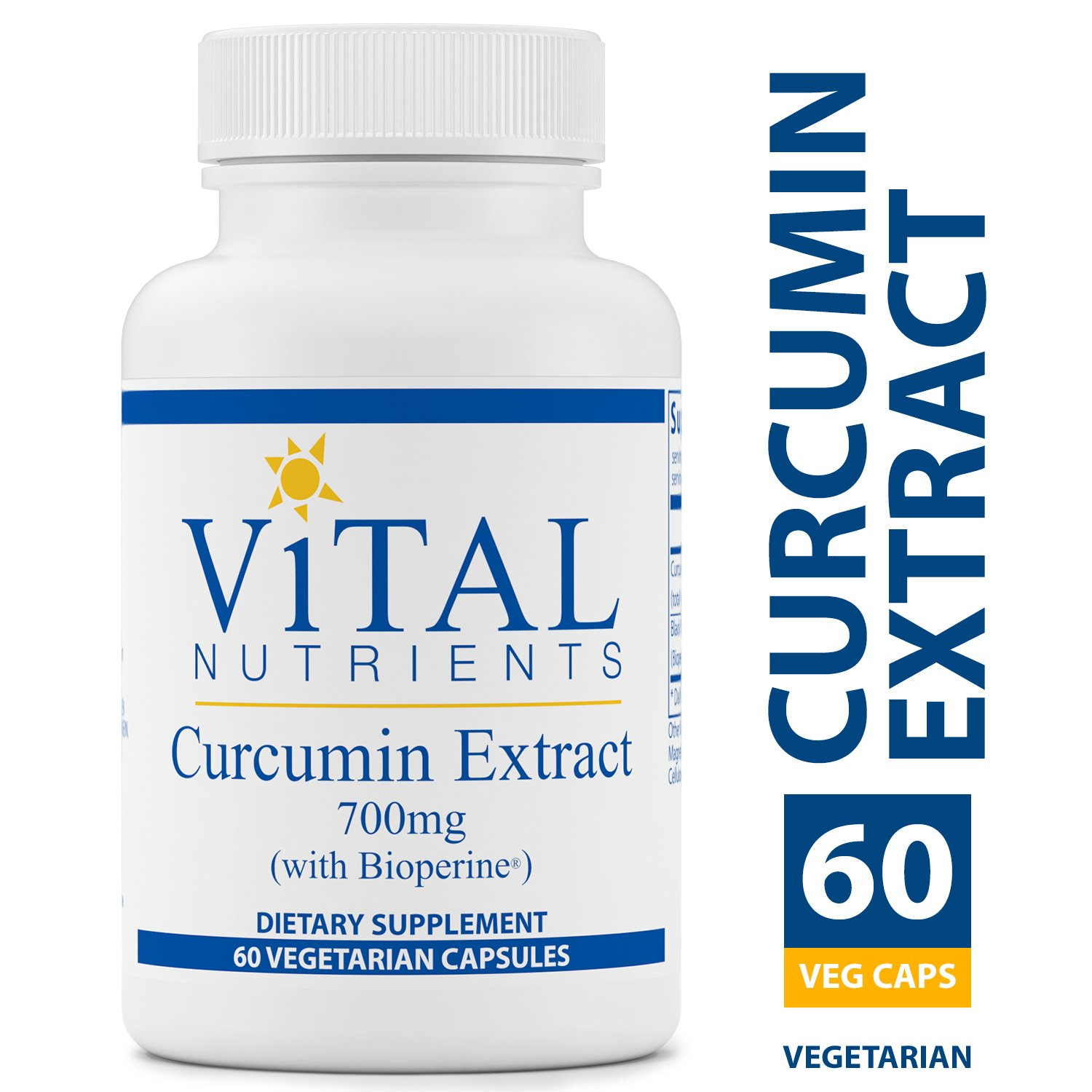 Vital Nutrients - Curcumin Extract 700 mg (with Bioperine) - Nutritional Support for Normal Tissue Health - 60 Capsules per Bottle