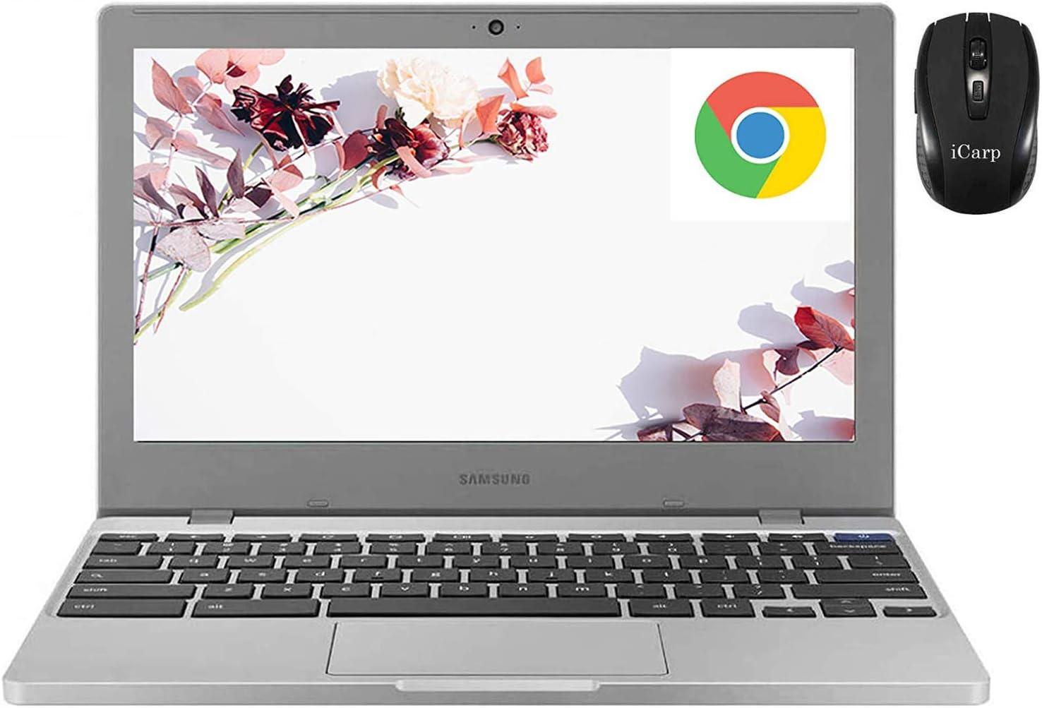 "2020FlagshipSamsung 11 Chromebook 4 LaptopComputer 11.6"" HD Display Intel Celeron Processor N4000 4GB DDR4 64GB eMMC 128GB SD Card Gigabit WiFi Type C Webcam Chrome OS + iCarpWirelessMouse"