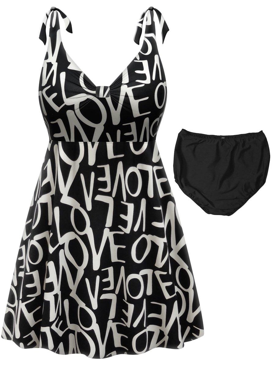 Sanctuarie Designs Love Print 2-PC Straps Style Plus Size Swimdress 0X