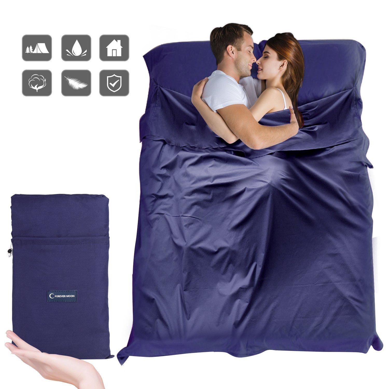 Doris Direct Saco Sábana, Saco de Dormir 100% Microfibra Suave de Poliéster para Viaje y Camping de Verano con Funda para la Almohada