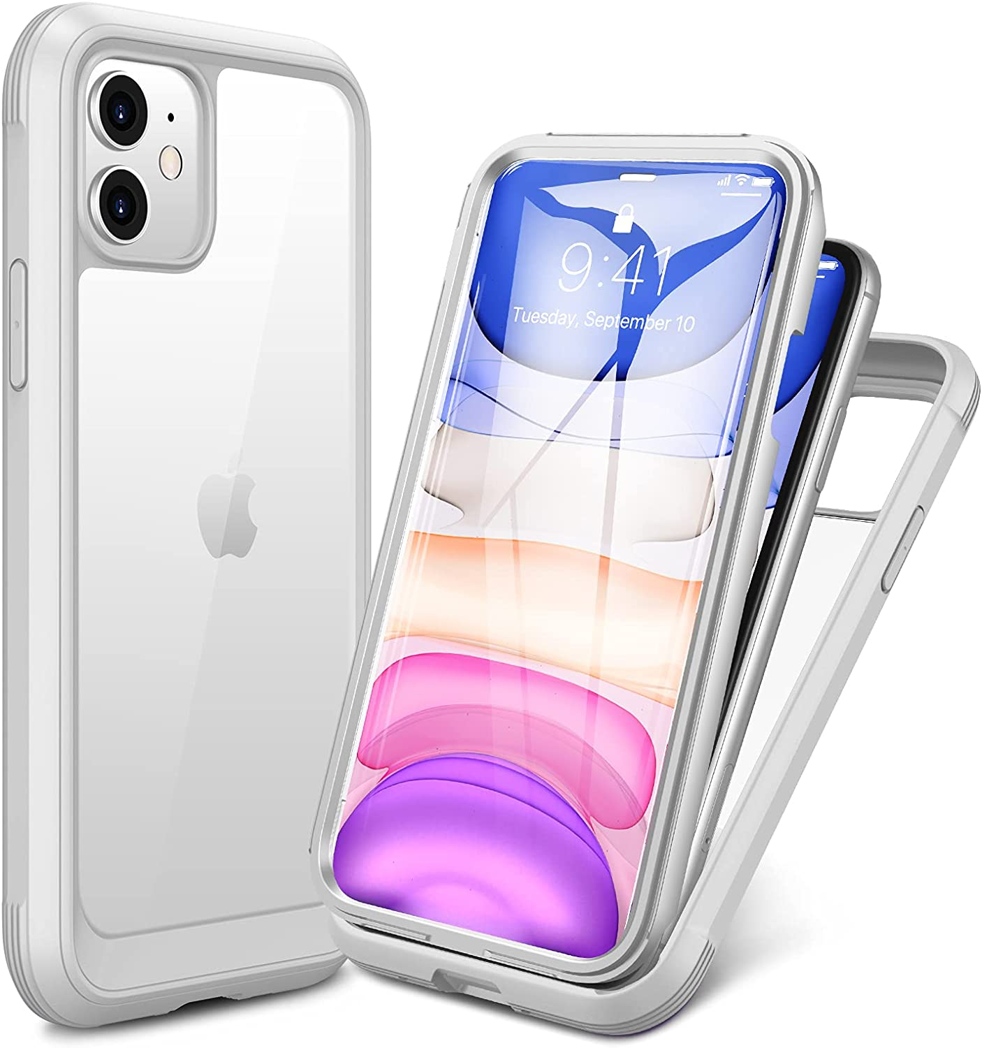 Miracase Glass+ Case for iPhone 11 6.1 inch, 2021 Upgrade Full-Body Clear Bumper Case with Built-in 9H Tempered Glass Screen Protector for iPhone 11, White