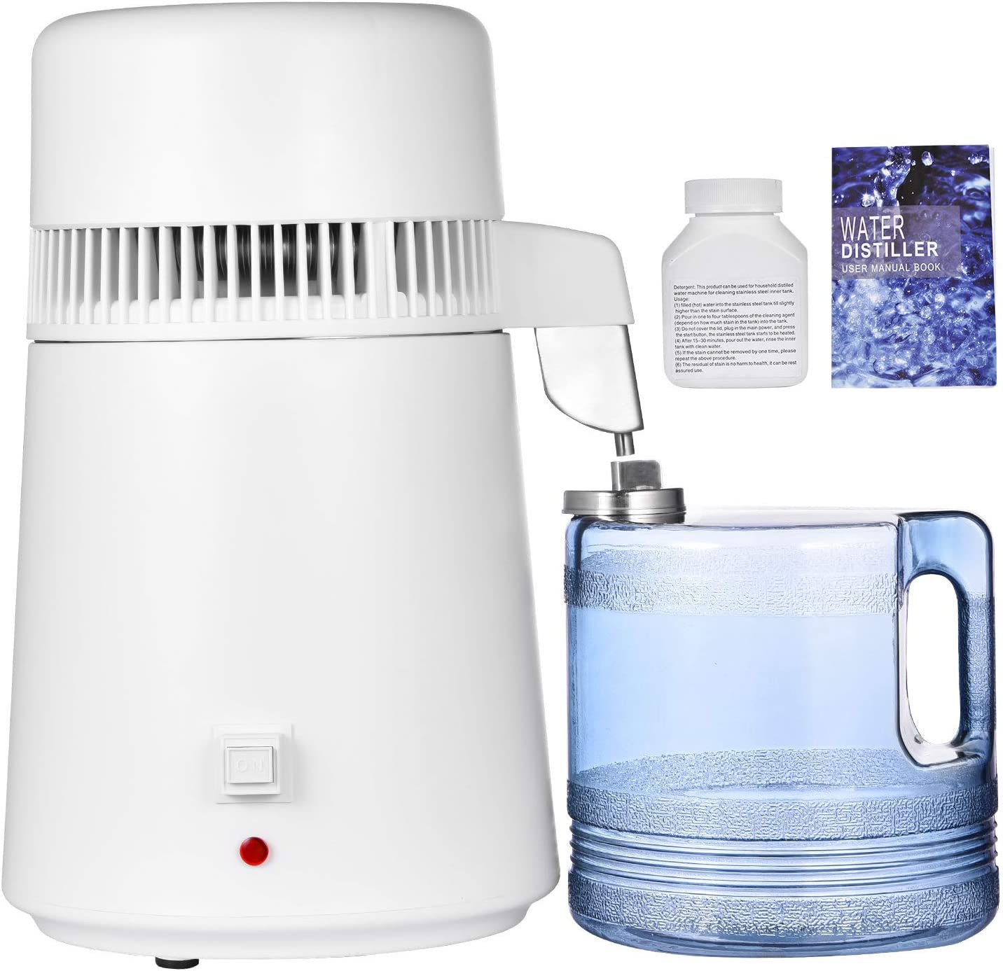 Peitten Water Distiller Machine, 750W Water Purifier Filter with Plastic Container, 304 Stainless Steel Pure Water Distilling Maker for Home, BPA Free, 1.1 Gal/4L (Water Distiller, White)