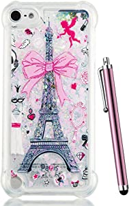 for iPod Touch 6 Case,iPod Touch 5 Case Glitter,CAIYUNL Liquid Bling Sparkle Clear Cute TPU Kids Girls Protective Cover Shockproof for iPod Touch 6th Generation/iPod Touch 5th&Stylus-Pink Iron Tower