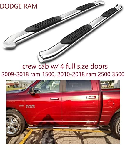 BETTER AUTOMOTIVE 5 Side Steps Fit 2019-2020 RAM 1500 Quad Cab Truck Pickup 5 Oval Bend Stainless Steel Running Boards Side Nerf Bars Off Road Accessories 2Pcs Excl. 2019-2020 RAM 1500 Classic