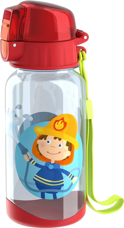 HABA 303695 - Trinkflasche Feuerwehr | Kinder-Trinkflasche für Feuerwehr-Fans | Trinkflasche für Kindergarten oder Schule | 400ml Flasche | bpa freier Kunststoff | spülmaschinenfest | auslaufsicher Druckknopf Geschirr Non Books Non Books / Geschirr Non Boo