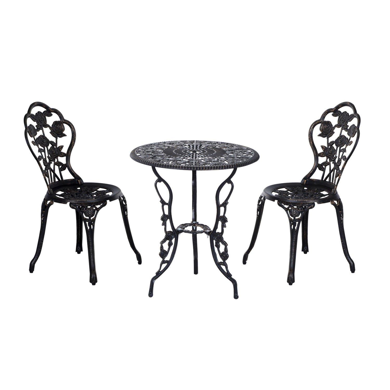 SSITG Gartenmöbel Blumen Gartenset Sitzgruppe Tisch Stuhl Metall Antik Schwarz