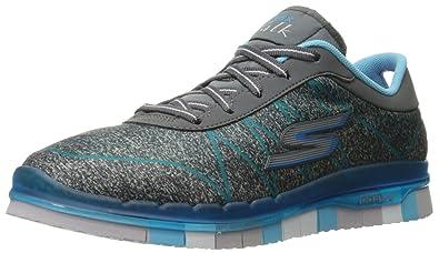 Skechers Women's GO Flex Lace-Up Walking Shoes Charcoal/Turquise Y59y8254