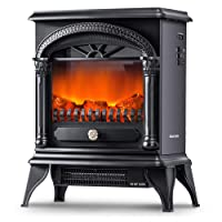 Leisure Zone Portable Electric Fireplace Stove Freestanding Fireplace Heating Stove Indoor Heater with Log Burner Flame 1850W (Black)