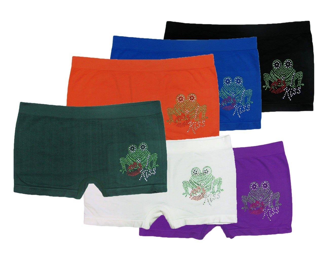 ToBeInStyle Girl's Pack of 6 Seamless Rhinestoned Frogs Boyshorts - OSR