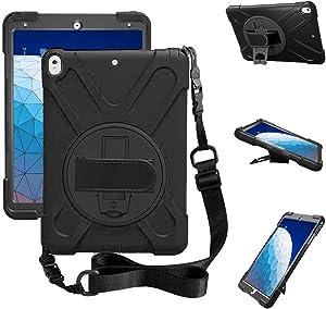 ZenRich iPad Air 3 Case 2019, iPad Pro 10.5 Case 2017, Kickstand Hand Strap & Shoulder Belt zenrich Shockproof Heavy Duty Rugged Case for iPad 10.5 inch Tablet 2017/2019 Release-Black