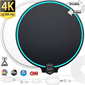 [2020 Updated] Biling TV Antenna for Digital TV Indoor, 90-150Miles Amplified Digital TV Antenna Indoor, Black&White Double-Sided 4K HD TV Antenna Long Range with Amplifier Signal Booster