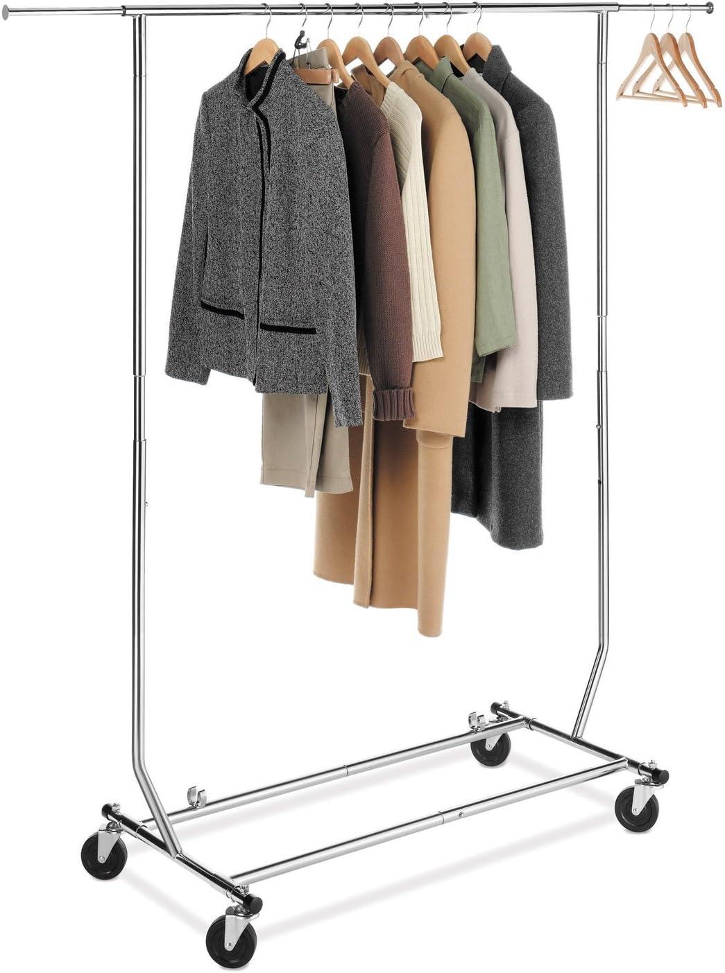 Whitmor Adjustable Rolling Garment Rack Collapsible Chrome