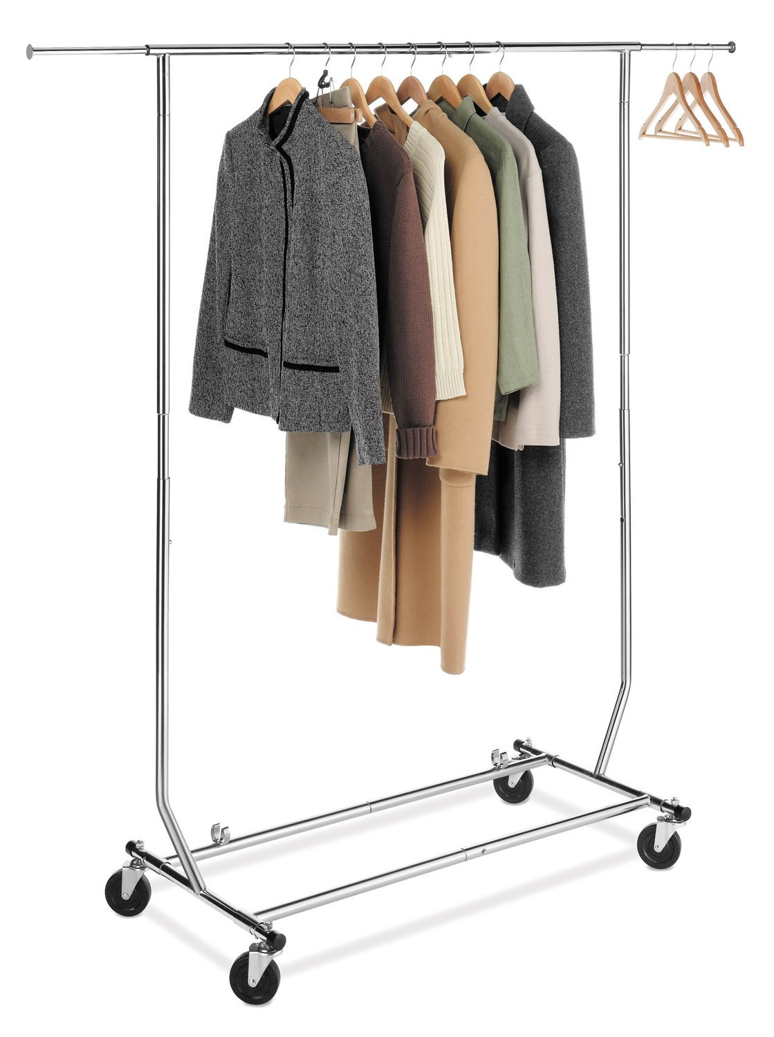 Com Whitmor Adjule Rolling Garment Rack Collapsible Chrome Home Kitchen