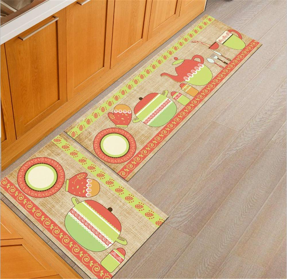 Soft Long Kitchen Carpet Floor Mat Living Room Hallway Area Rugs Cotton Anti-Slip Entrance Door Mats Doormat Home Outdoor(15.7''x23.6''+15.7''x 47.2'') CHITONE MS0428-Banana leaf*1