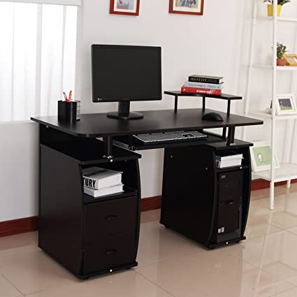 Homcom – Mesa de ordenador de oficina madera PC para escribir ...