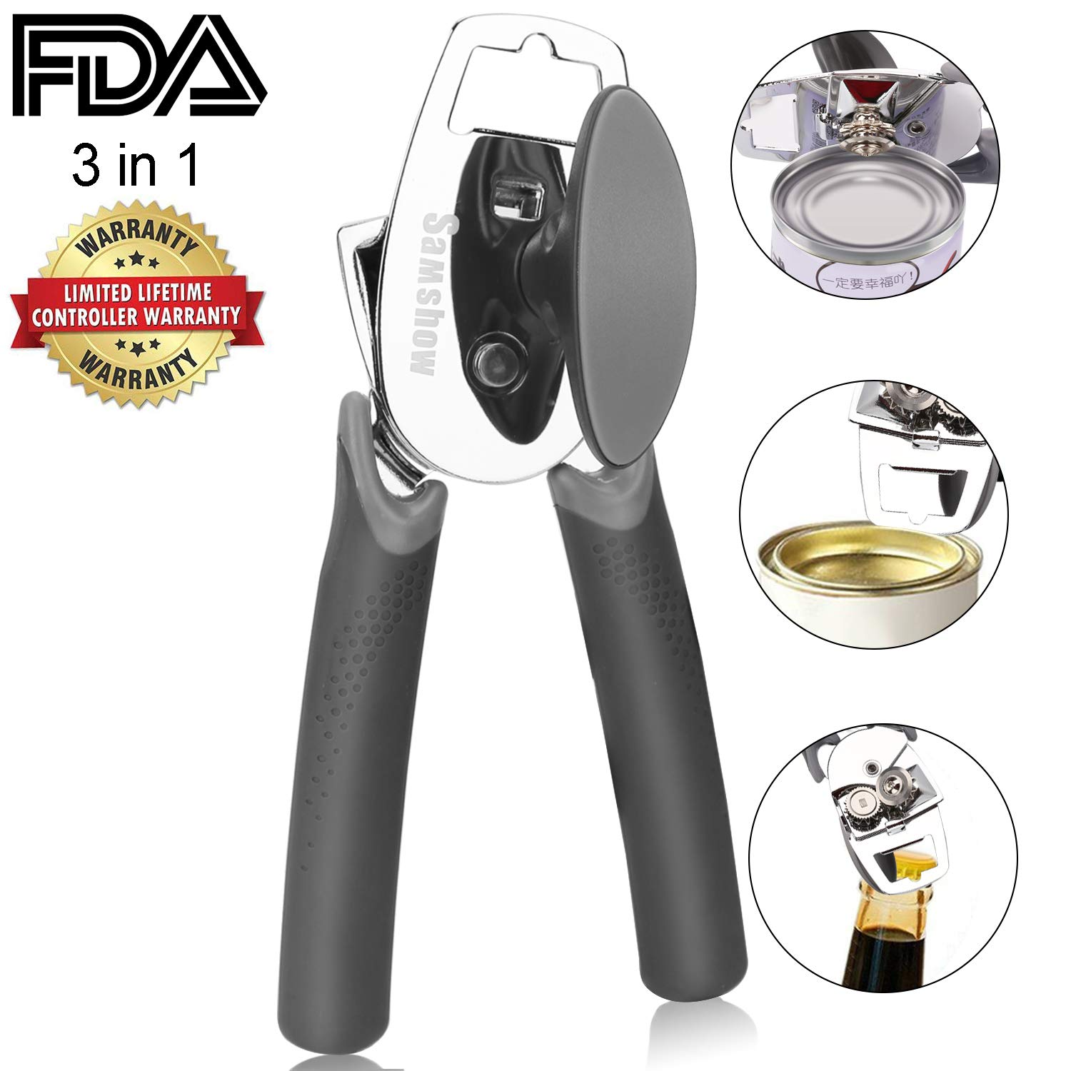 Can Opener - Samshow Stainless Steel Can Opener Manual Heavy Duty Tin Opener with Lids off Dishwasher Safe Can Opener Smooth Edge with Comfortable Ergonomic Non-Slip Handles Easy to Operate for Senior