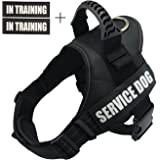 Fairwin Service Vest Dog Harness - Adjustable Nylon with Removable Reflective Patches for Service Dogs Large Medium Small Sizes