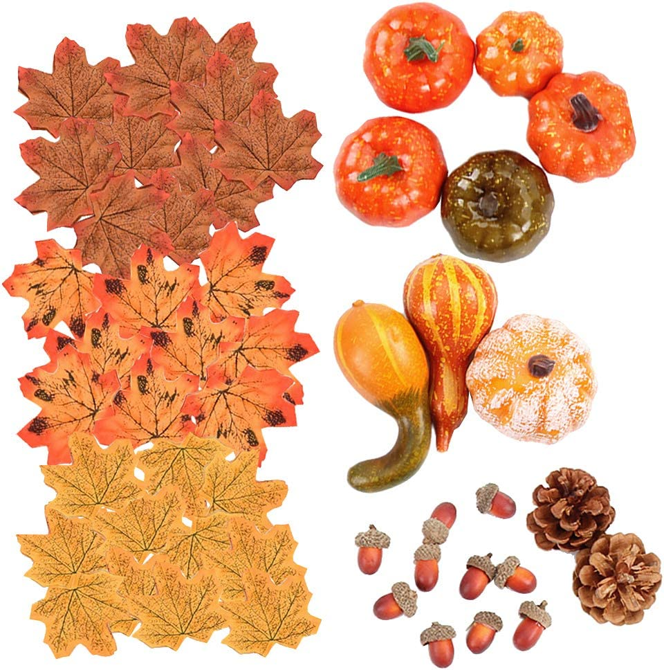 Lifelike Maple Leaves ZYM 50pcs Mini Artificial Fall Decors Artificial Pine Cones and Acorns for Halloween Harvest Thanksgiving Party Home Table Ornaments Fake Foam Pumpkin