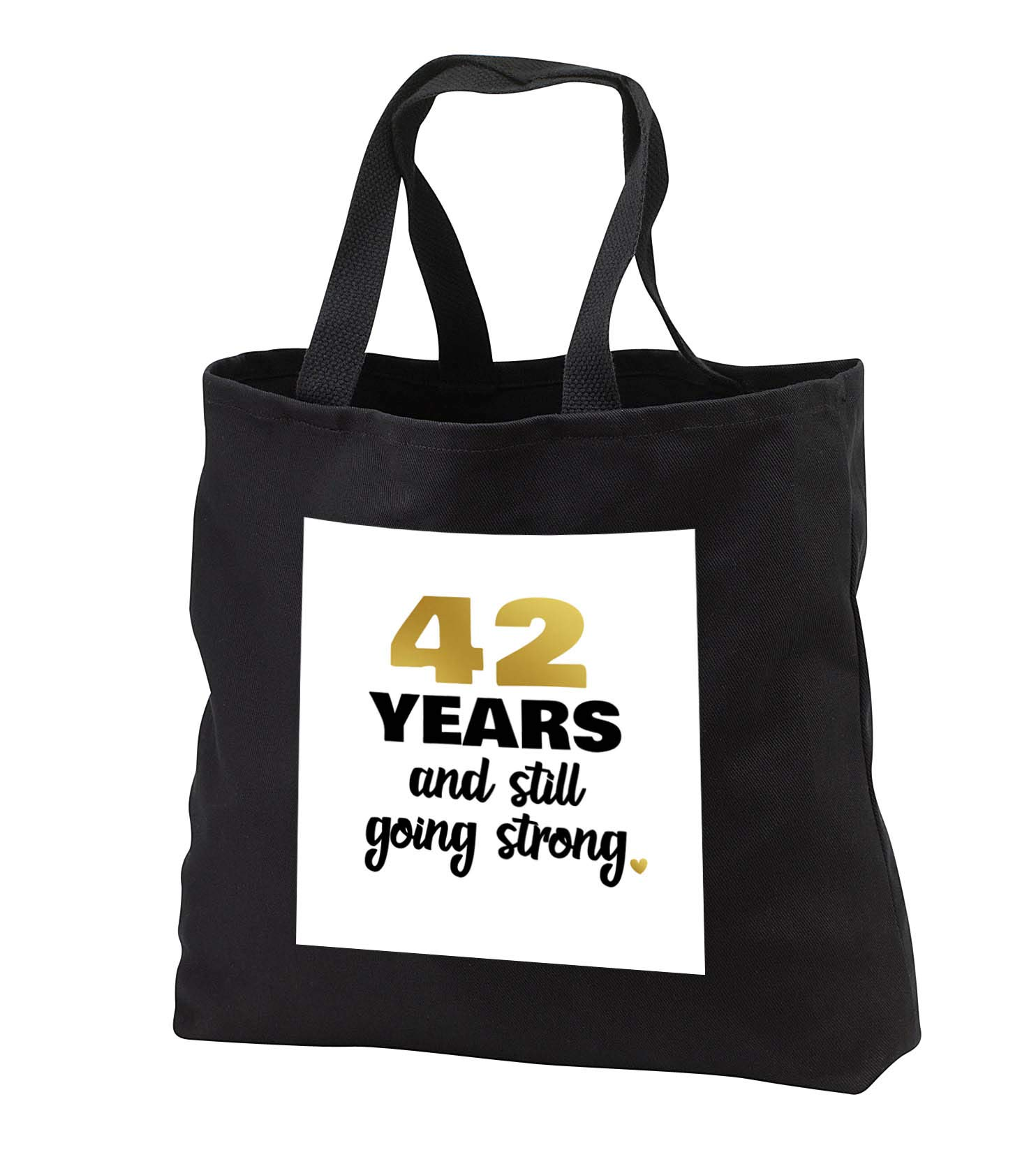 Janna Salak Designs Anniversary - 42 Year Anniversary Still Going Strong 42nd Wedding Anniversary Gift - Tote Bags - Black Tote Bag 14w x 14h x 3d (tb_289677_1)