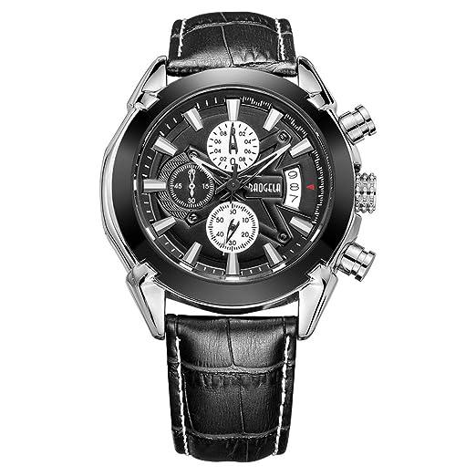 Relojes Hombre Deportivos Grande, Reloj cronógrafo de Cuarzo analogico con Correa Negro y Black de Cuero para Hombre, Impermeable: Amazon.es: Relojes