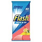 Flash Wipe and Go Lemon, 40 Wipes