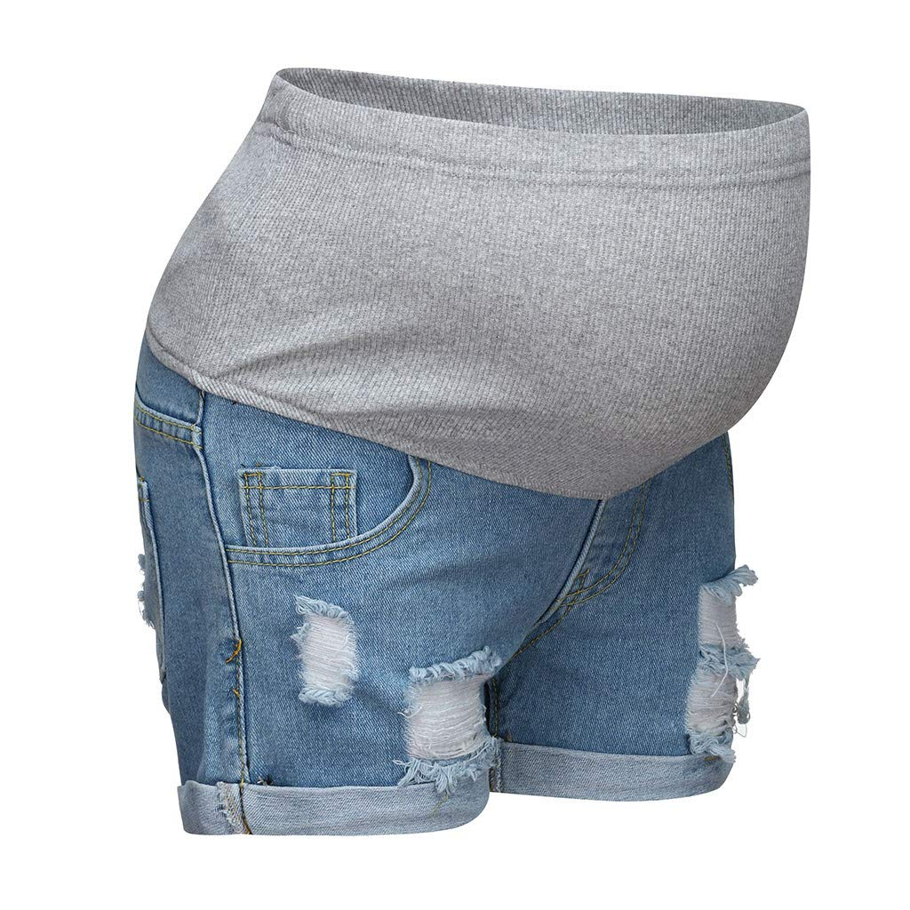 Short High Waisted Maternity Jeans Ripped Short Trousers Elasticity Maternity Prenatal Maternity Shorts Over The Belly Maternity Pregnancy Plus Size Clothes