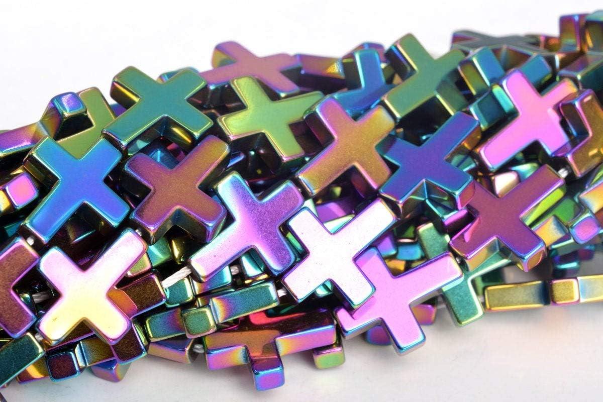 38  19 Pcs 104792 10MM Rainbow Hematite Beads Cross Grade AAA Natural Gemstone Loose Beads