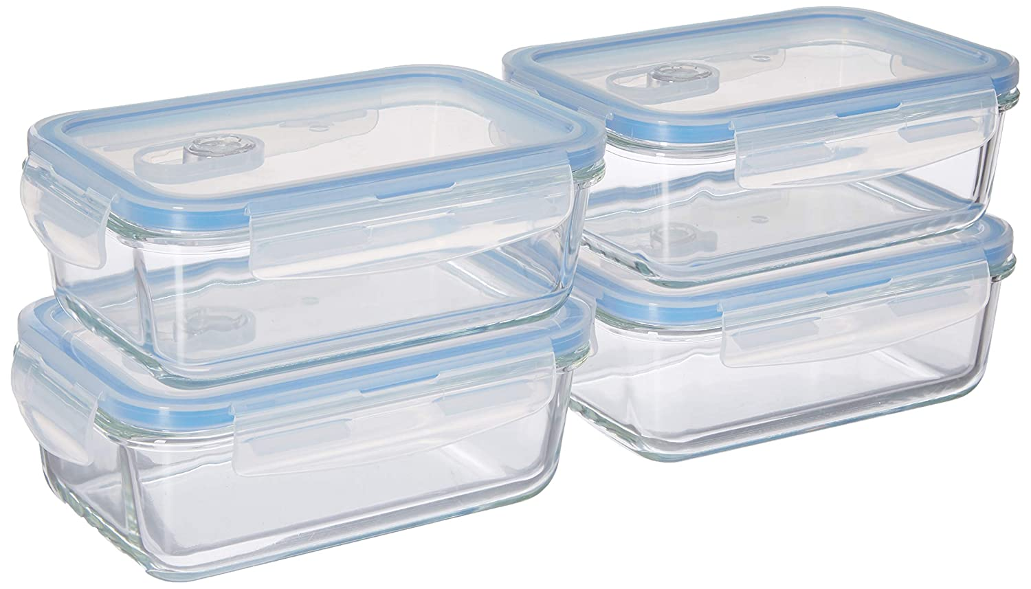 44e52405a694 Misc Home [Premium 4 Sets Glass Meal Prep Food Storage Container Snap  Locking Lid, Airtight, Microwave, Oven, Freezer, Dishwasher Safe (3.5 Cup,  28 ...
