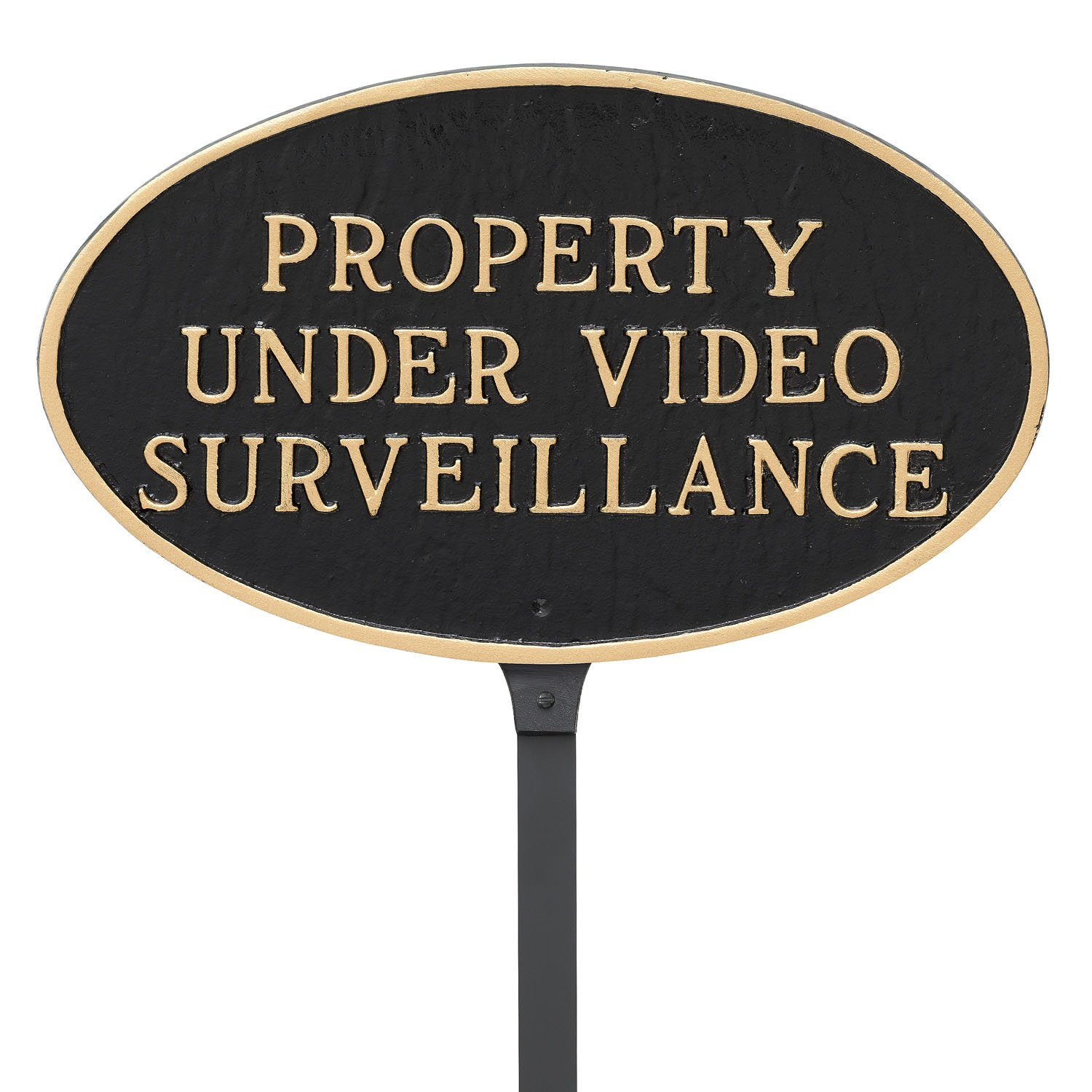 Montague Metal Products 6'' x 10'' Property Under Video Surveillance Statement Plaque with 23'' Stake, Black/Gold by Montague Metal Products