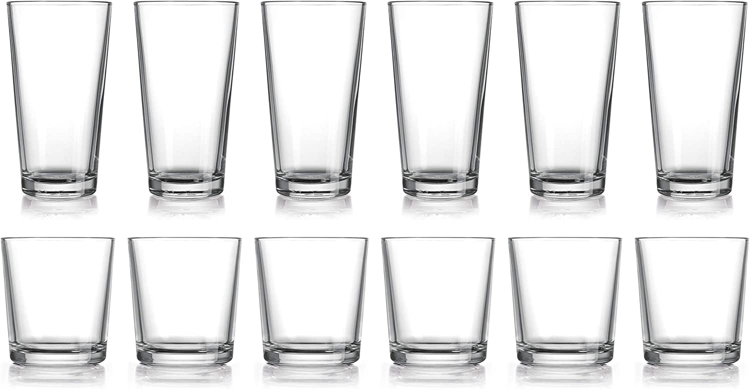 HE Classic Drinking Glasses Set, 12-Count Classic Glassware, Includes 6 Cooler Glasses(17oz) 6 DOF Glasses(14oz)12-piece Elegant Glassware Set