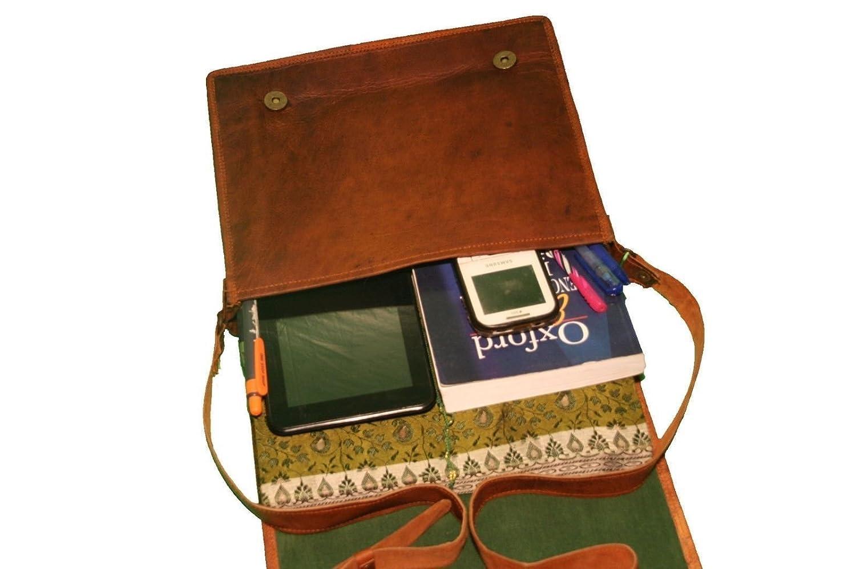 Messenger Bag Leather Vintage Full Flap Laptop Shoulder Bag Fashionable Bag. Beige