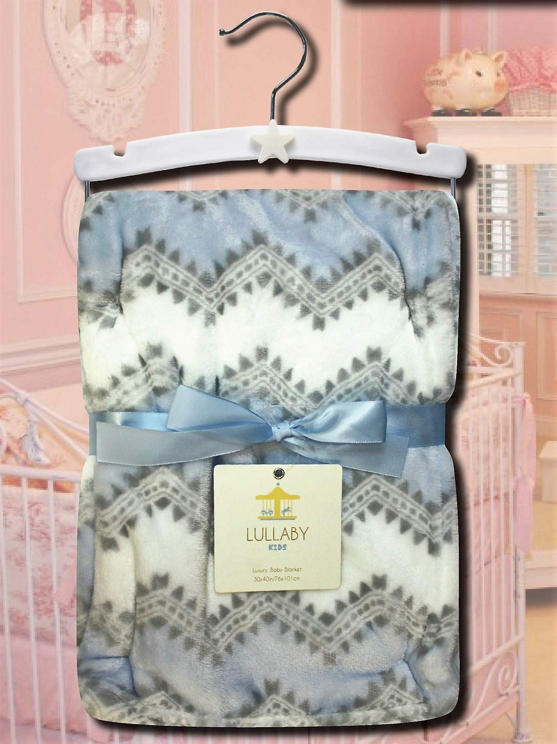 Northpoint Lullaby Kids Aztek Print Velvet Luxury Baby Blanket 30x40 Powder