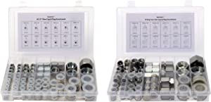 128 Pcs. JIC 37° Flare Thread & O-Ring Face Seal ORFS Cap & Plug Assortment Kit, Galvanized Steel with Precision Threading Industrial Hydraulic Fitting Set, Dash Sizes 04 06 08 10 12 16