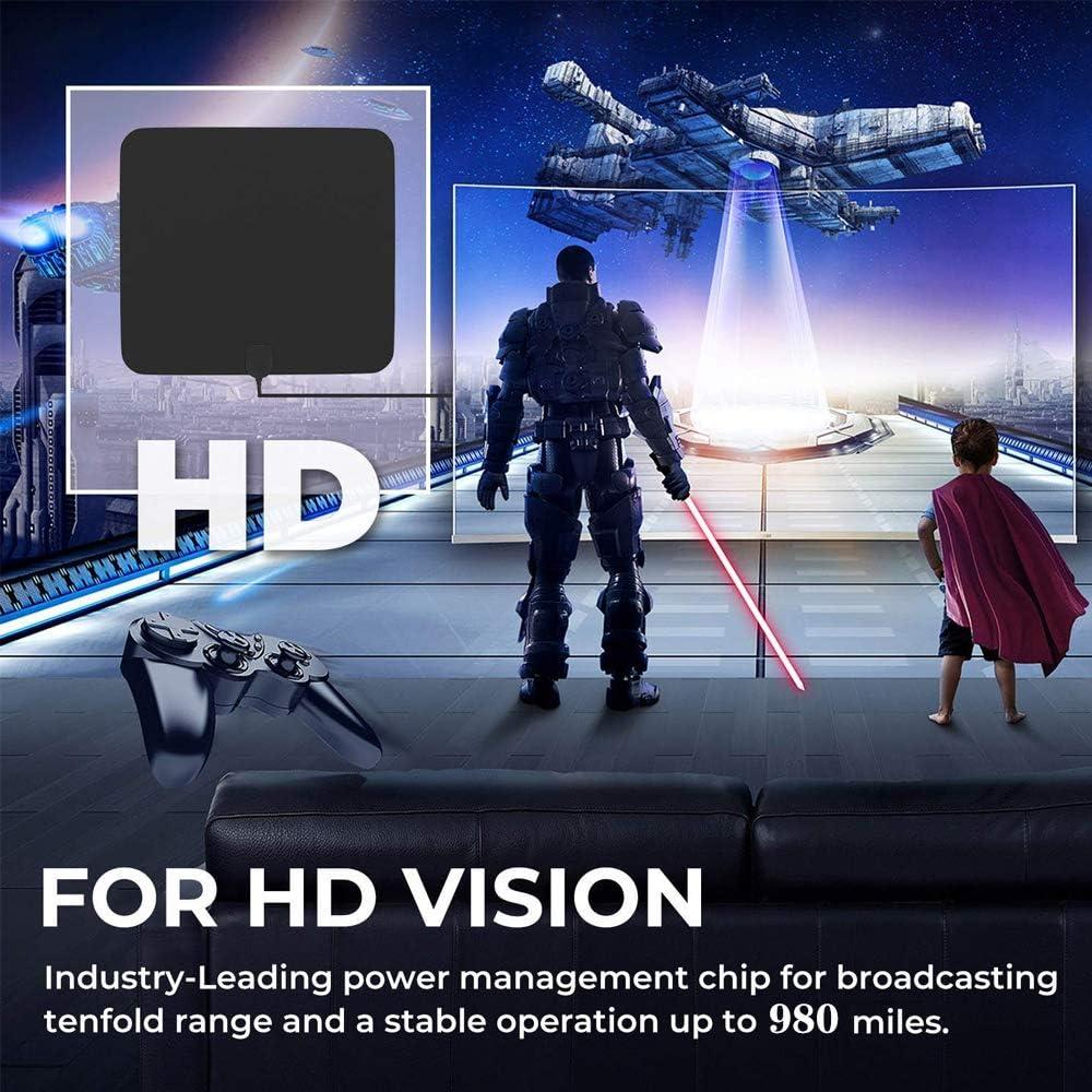 Eztronics CorpTV Antenna for Digital TV Indoor Detachable HDTV Amplifier Signal Booster for 4K 1080P UHF VHF High Reception HDTV Antenna 980 Miles Ultra Long Range 13.1FT Coax Cable
