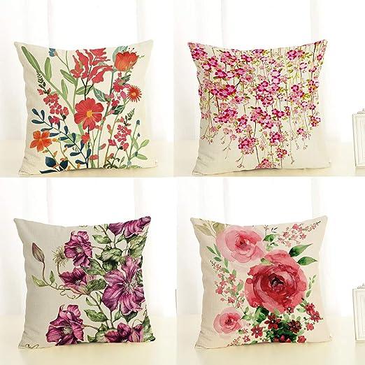 Fansu Fundas de Cojines para Sofa Flor Impresión, 4 Pack Lino ...