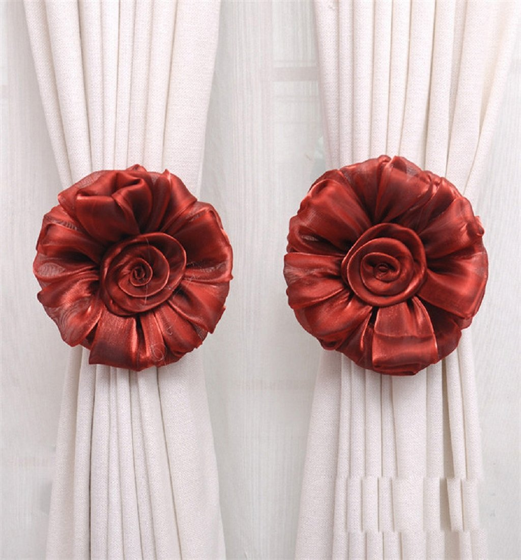 Mikey Store Cute Curtain Holdback Rose Flower Window Curtain Tieback Buckle Clamp Hook Fastener For home decoration, Wedding room,Gift for daughter,Little girl (Red)